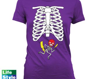 Halloween Skeleton Shirt Maternity Announcement T-shirt (Flash- Justice League) Skeleton Baby Shirts Pregnancy Halloween Costume Tee CT-1321