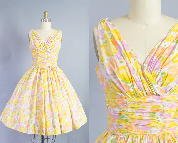 1950s Pastel Floral Cotton Dress/ Extra Small (32B/24W)