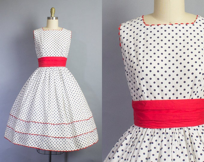 1950s Red, White, and Blue Polka Dot Dress/ Small (34b/26w)