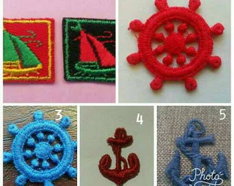 1 Small Red Boat Ship Anchor Wheel Applique Sew On Patch