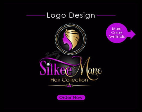 Hair Collection Logo Design, Diamond Hair Extensions Logo, Bling Logo Design, Hair Business Logo with Diamond Frame, Virgin Hair Branding