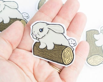 Bunny on a log Sticker Kawaii Cute Animal Rabbit Furry Friend Nature Wood Rustic Look Digital Art Graphic Design Stationery Stickers Anime