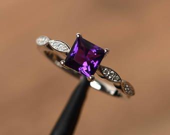 natural amethyst rings princess cut rings anniversary rings sterling silver rings February birthstone ring