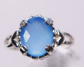 Blue Chalcedony 925 Sterling Silver 10 by 8 mm Ring
