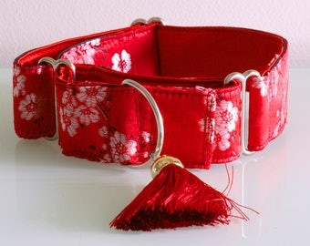 SILVER BLOSSOM  - Red and Silver Brocade Martingale Dog Collar with Red Silk Tassel for Large Sight Hound for Chinese New Year
