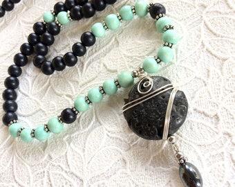 108 bead mala necklace/mala beads/mala necklace/108 mala/meditation yoga mala/lava stone mala/aromatherapy necklace/diffuser beads/spiritual