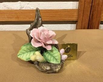 Lefton China Blooming Pink Rose Figurine #02705 with Original Hang Tag
