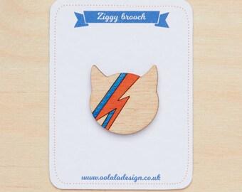 David Bowie brooch, David Bowie jewellery, Ziggy stardust cat, Aladdin sane pin, David Bowie badge, Bowie fan gift, Cat lover, Thunderbolt