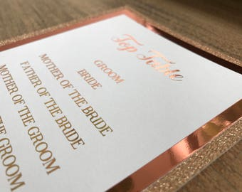 Stunning Handmade rose gold table plan 1-10 glitter & foil