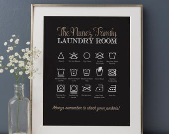 Personalized Laundry Print, Laundry Room Art, Laundry Symbols Art Print, Laundry Instructions, Laundry Room Decor