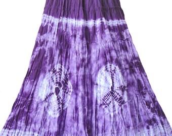 New Tie Dye Skirt Maxi Long Skirt Boho Hippie Gipsy Summer Festival Skirt in Purple