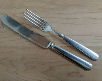 Antique 1847 ROGERS Bros 1850 WINDSOR Solid Indented New French Dinner Knife & Fork Set of 2