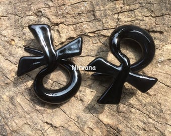 "Black Egyptian Ankh Cross Pyrex glass Ear Spirals 10g 8g 6g 4g 2g 0g 00g 7/16"" 1/2"" 9/16"" 5/8"" 2.5 mm 3 mm 4 mm 5 mm 6 mm 8 mm - 16 mm"