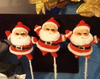 Set of 3 Vintage Santas on a Pick