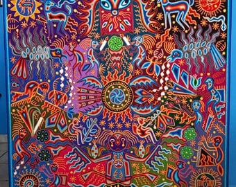 Outstanding 48'' Huichol Indian Yarn Painting Mexican Folk Art