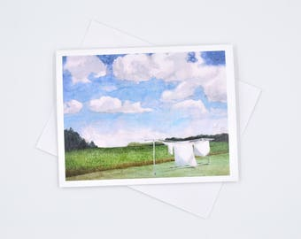 fresh laundry - sheets on the line - watercolor notecard - pretty art cards - simple joys - thinking of you - watercolor landscape art