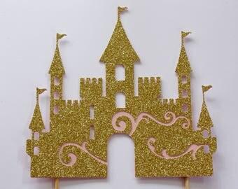 Castle Cake Topper, 1st Birthday Cake Topper, Gold Glitter Castle, Princess Themed Party Decor