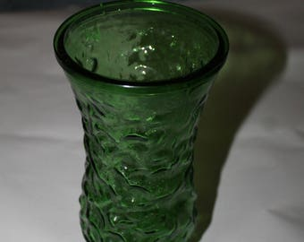 Vintage Dark Green Large Vase, Flower Bouquet, Hoosier Glass, Home Decoration, Bubble Pattern on Surface, Easy to Clean