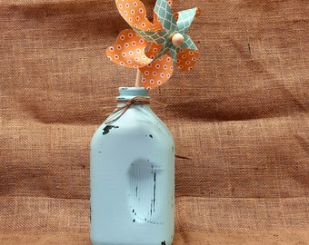 Light Teal Extra Large Dairy Bottle - Chalk Painted - Rustic Distressed - Pinwheels - End of Summer Sale