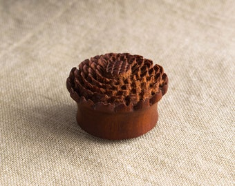 28 mm Wooden Ear Plug with Mandala Carving