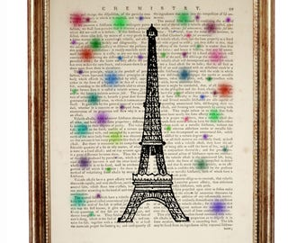 Eiffel Tower France DICTIONARY ART PRINT Eiffel Tower Paris Upcykled Vintage Dictionary Page book 10'' x 8''