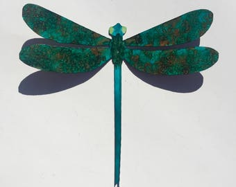 Hand Painted metal Dragonfly Decor