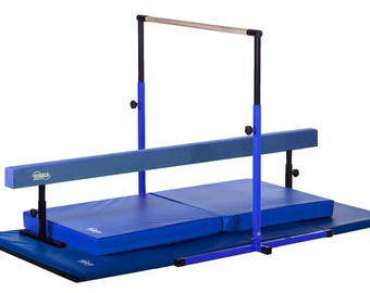 Blue Little Gym Deluxe Equipment Set - Gymnastics Bar, Adjustable Balance Beam, 8ft Gymnastics Tumbling Mat, Landing Mat