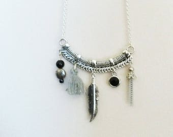 Necklace long bib grey/black with beads, tassel charms