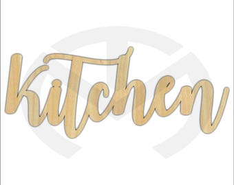 Unfinished Wood Calligraphy Script Word Kitchen Laser Cut, Smaller Sizes, Home Decor, Farmhouse