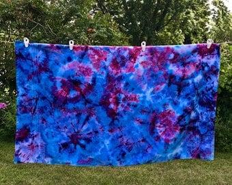 Geode Tie Dye Towel - Tie Dye Bath Towel - Tie Dyed Beach Towel - Pink, Blue, Purple Tie Dye - Ice Dyed Towel - Large Tie Dye Bath Towel