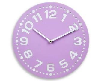 Wood wall clock. Colorful wall clock. Modern wall clock. Soft violet wall clock. Purple wall clock. 11 inch diameter wall clock. CL4014