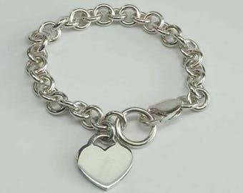 Vintage Sterling Silver Heart Tag Lobster Clasp Bracelet 925