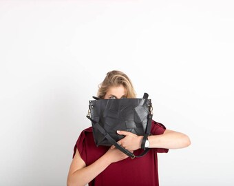 Mosaic black leather purse