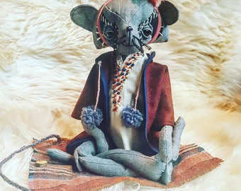 Roxy Max Smithers. Art doll. Handmade doll. Raccoon. Recycled fabric doll. Eco friendly toy. Heirloom stuffed animal. Raccoon doll.