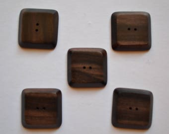 set of 5 25mm square wood buttons