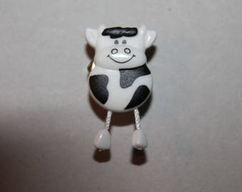 cow animal button black and white sewing from the bottom