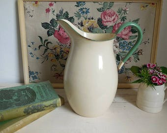 Large vintage Swedish Kockums enamel jug, vintage enamel pitcher, cream