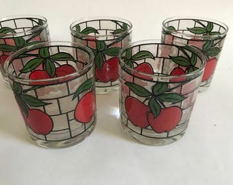 7 Vtg APPLE Rocks Glasses Old Fashioned Lowball Tumblers Rock