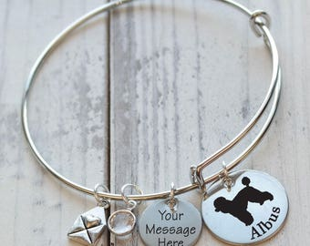 I Love My Dog Breed Wire Adjustable Bangle Bracelet