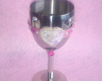 Stainless Steel Wine Goblet. Ribbons and Heart. Pinks and Pearls