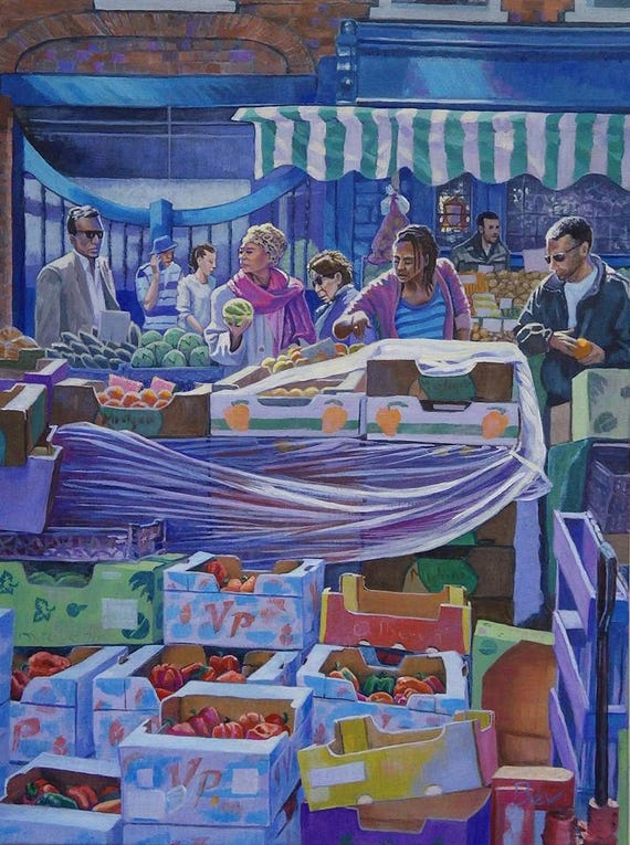 """Choices, print 16 X 20"""" from an original painting of Surrey Street Market in Croydon"""