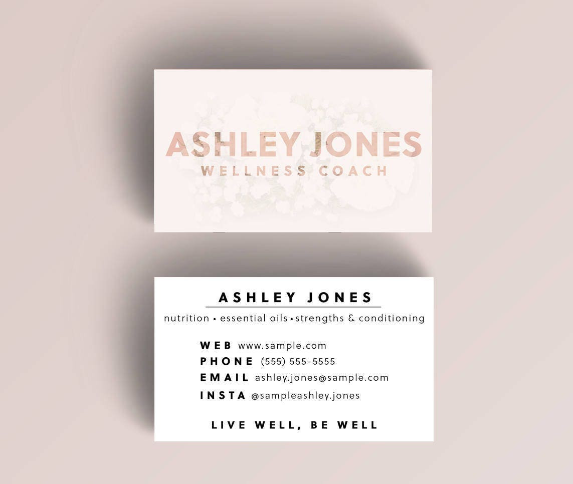 Digital Natural Custom Business Cards // Wellness or Personal Coach ...