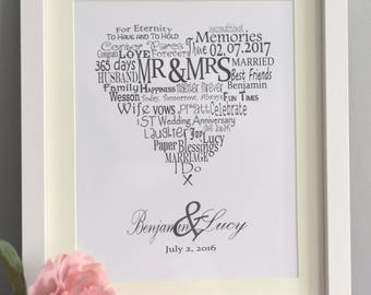 Personalised Wedding/Anniversary Word Art