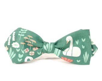 Men's Bow Tie Green, Teal Green Bowtie, Swan Bowtie, Organic Cotton Bow Tie, Animal  Print Bowtie, Park Life Bow Tie, Gift for Nature Lover
