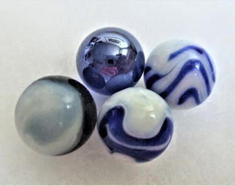 Vintage Marbles Set of 4 Blue White Marbles Collector Marbles Craft Supply Marbles Jewelry Making Supply Terrarium Supply Decorator Marbles