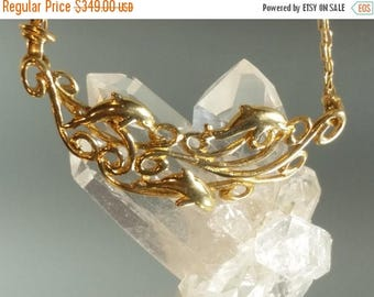 ON SALE 14K Solid Yellow Gold Dolphin Ocean Vintage Necklace