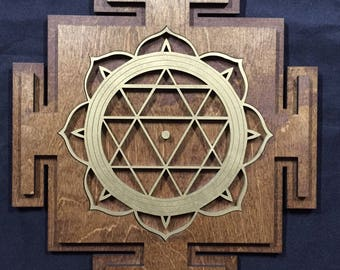 """Durga Yantra 11"""" - Brown and Gold with Brown Base - Radiant Hearts Item #020013"""