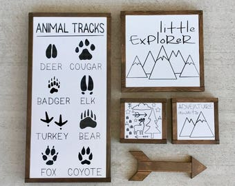 Animal Tracks Sign | Woodland Nursery Sign | Mountain Nursery Decor | Animal Nursery Poster | Baby Boy Nursery Decor | Fox
