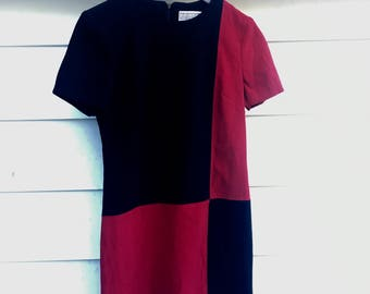 Vintage 1980s does 1960s Size Small/Medium 4/6 Colorblock Dress
