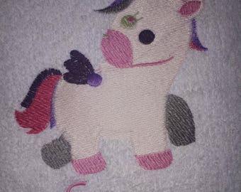 Personalised embroidered Unicorn  bath towel (100% cotton)